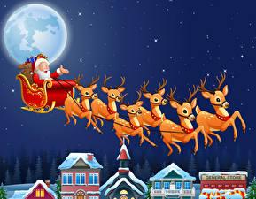 Fotos Vektorgrafik Neujahr Himmel Stern Hirsche Nacht Mond Schlitten Weihnachtsmann Flug