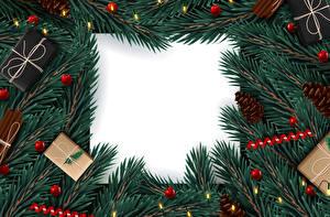 Hintergrundbilder Vektorgrafik Neujahr Vorlage Grußkarte Ast Geschenke Zapfen Lichterkette Kugeln