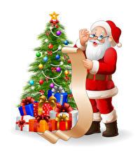 Hintergrundbilder Vektorgrafik Neujahr Weißer hintergrund Weihnachtsbaum Geschenke Kugeln Weihnachtsmann Uniform