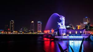 Bilder Vietnam Springbrunnen Drachen Nacht Da Nang Städte