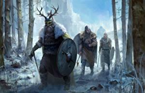 Photo Warriors Winter Viking Shield Helmet Fantasy