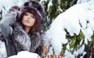 Image Winter Snow Spruce Staring Winter hat young woman