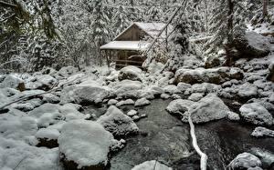 Hintergrundbilder Winter Stein Wassermühle Schnee Bäche