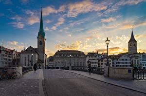 Hintergrundbilder Zürich Schweiz Sonnenaufgänge und Sonnenuntergänge Brücken Wege Straßenlaterne Turm Asphalt Stadtstraße Städte