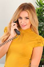 Photo Amy Green Blonde girl Staring Hands Phone young woman