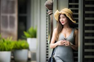 Fotos Asiaten Unscharfer Hintergrund Kleid Hand Der Hut Braune Haare Süß Mädchens