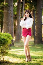 Bilder Asiatische Bokeh Bein Schöner Rock Braune Haare Bluse Mädchens