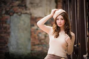 Fotos Asiatisches Unscharfer Hintergrund Pose Hand Braune Haare Starren Süße Frisur Schöner junge frau
