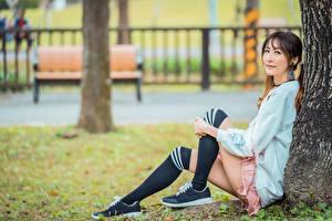 Bilder Asiatisches Unscharfer Hintergrund Sitzen Bein Long Socken Mädchens