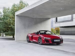 Fotos Audi Rot Metallisch Roadster R8, Spyder, V10, 2020, RWD Autos