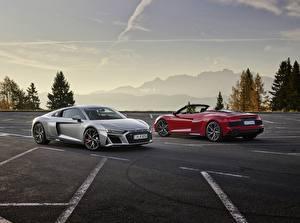 Hintergrundbilder Audi 2 Parken Roadster Rot Graue Metallisch Coupe R8, Spyder, V10, 2020, RWD auto