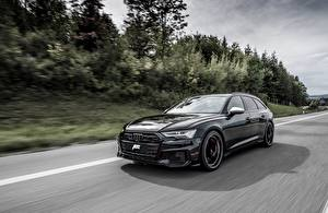 Bilder Audi Fahrendes Kombi Schwarz Metallisch TDI, ABT, Avant, 2019, Audi S6 auto