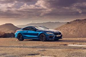 Wallpaper BMW Side Blue Metallic Coupe Competition, 2020, M8, F91 Cars