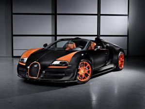 Hintergrundbilder BUGATTI Schwarz Orange Carbon Roadster Veyron, Grand Sport, Vitesse, 2013 auto