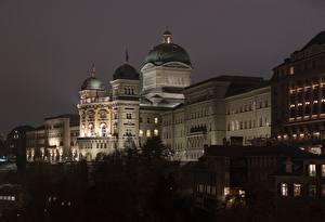 Wallpaper Bern Switzerland Night Palace Federal Palace Cities