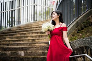 Fondos de escritorio Un ramo Asiática Vestido Rojo mujer joven