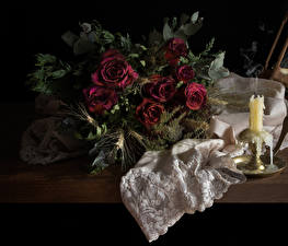 Image Bouquet Rose Candles Still-life Maroon Dry flower