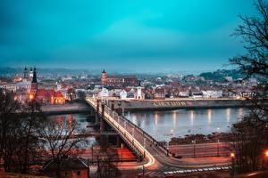 Photo Bridges Lithuania Rivers Kaunas
