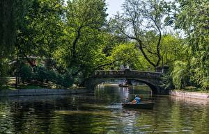 Hintergrundbilder Brücke Teich Boot Park Rumänien Budapest