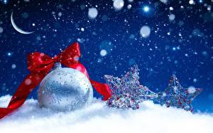 Bilder Neujahr Kugeln Schleife Schnee Kleine Sterne