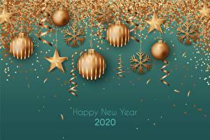 Fotos Neujahr Kugeln Schneeflocken Kleine Sterne Text Englischer 2020