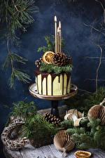 Fotos Neujahr Torte Kerzen Ast Design Zapfen Lebensmittel