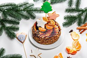 Bilder Neujahr Torte Kekse Mandarine Ast Design Kleine Sterne das Essen