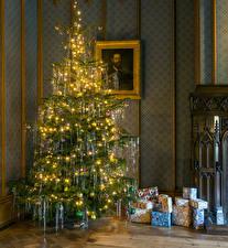 Bilder Neujahr Weihnachtsbaum Geschenke Lichterkette