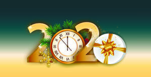 Pictures New year Clock 2020 Gifts Snowflakes
