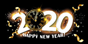 Pictures New year Clock Black background 2020 Lettering English