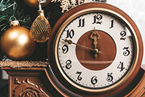 Pictures New year Clock Clock face Balls