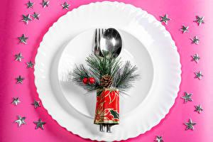 Fotos Neujahr Farbigen hintergrund Teller Löffel Ast Kleine Sterne Zapfen das Essen