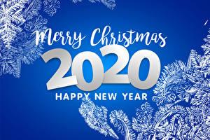 Fotos Neujahr Farbigen hintergrund Text Englisch 2020 Schneeflocken
