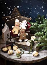 Hintergrundbilder Neujahr Kekse Ast Design das Essen