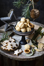Image New year Cookies Branches Design New Year tree Little stars Food