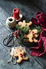 Bilder Neujahr Kekse Kerzen Bretter Design das Essen