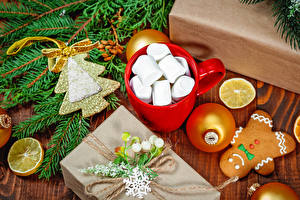 Picture New year Cookies Lemons Cup Marshmallow Branches Balls Present New Year tree Food