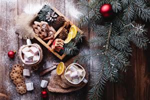 Hintergrundbilder Neujahr Kekse Bretter Ast Kugeln Zapfen Tasse Marshmallow das Essen