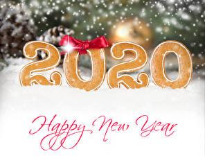 Fotos Neujahr Kekse Text Englisches Schleife Schnee