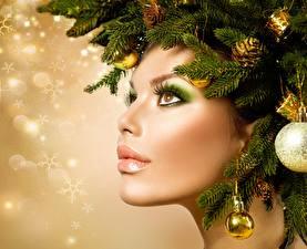 Fotos Neujahr Kreative Gesicht Schminke Ast Model