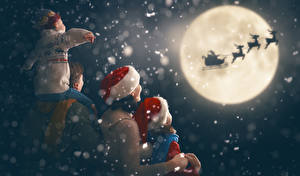 Hintergrundbilder Neujahr Hirsche Mutter Mond Schlitten Jungen Kleine Mädchen Mütze kind