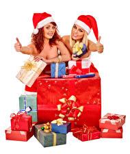 Hintergrundbilder Neujahr Finger Weißer hintergrund 2 Mütze Lächeln Geschenke junge frau