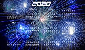 Wallpapers New year Fireworks Calendar 2020