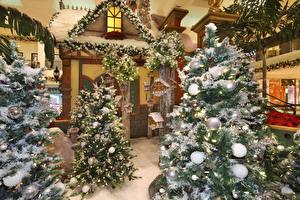 Bilder Neujahr Innenarchitektur Weihnachtsbaum Kugeln Schnee Lichterkette