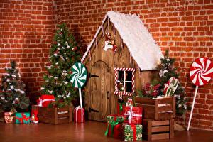Desktop hintergrundbilder Neujahr Innenarchitektur Gebäude Weihnachtsbaum Geschenke