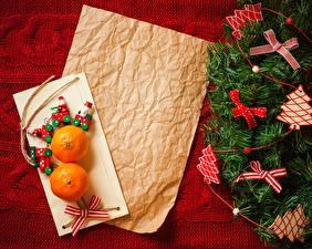 Bilder Neujahr Mandarine Papier Schleife Weihnachtsbaum Blatt Papier