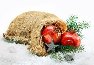 Images New year Pomegranate Snow Little stars Branches