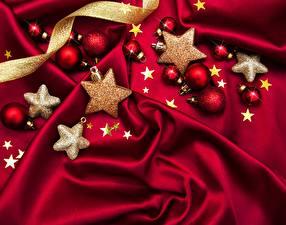 Fotos Neujahr Kleine Sterne Kugeln Webstoff