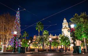 Photo New year USA Disneyland Park California Design Night time Street lights New Year tree Cities