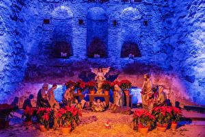 Bilder Neujahr Vereinigte Staaten Tempel Engeln Kalifornien Nativity Scene at the Mission San Juan Capistrano